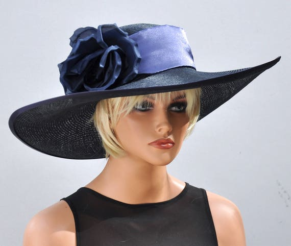 Wedding Hat, Kentucky Derby Hat, Derby Hat, Navy Hat, Ascot Hat, Formal Hat, Wide Brim Hat