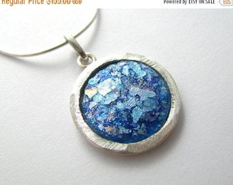 Summer Sale Hand Made 925 Silver Roman Glass Pendant Necklace