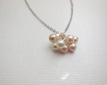Blush pale pink, ivory and champagne beaded cluster pendant necklace