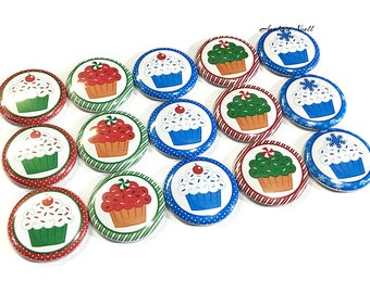"""Holiday Cucpake Magnet, 1"""" Button Magnet, Cupcake Magnet, Holiday Magnet, Holiday Decor, Cupcake Theme, Cupcake Party Favor, Magnet Decor"""