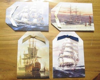 Handmade Note Cards - Set of 4 Nautical Ships tag-shaped folded cards and envelopes