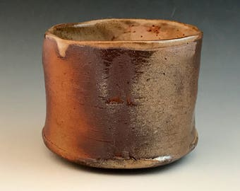 Pottery Tea Cup, Wood Fired Yunomi, 8 oz., Handmade Yunomi, Wheel Thrown Stoneware Cup with Shino Glaze and Texture Marks.