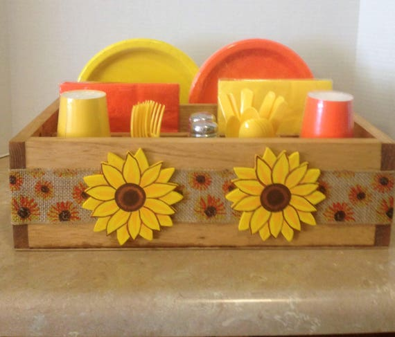 Tableware caddy, party supplies, sunflower decor, sunflower kitchen, tableware holder, napkin holder, sunflower caddy, housewarming gift