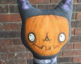 OOAK Lowbrow Goth Halloween Black Cat Art Doll Creepy and Cute Big Eyes Big Smile Tim Burton Style Pumpkin Free Ship USA