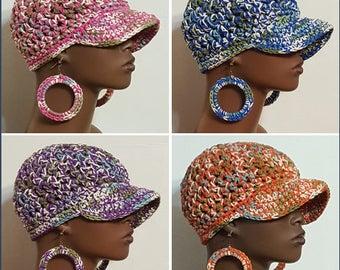 100% Cotton Chunky Crochet Baseball Cap with Hoop Earrings by Razonda Lee Razondalee Ready to Ship