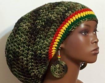 Rasta Trim Camouflage Large Crochet Tam Cap Hat with Drawstring and Earrings Dreadlocks by Razonda Lee Razondalee