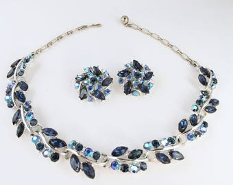 Rhinestone Necklace and Earrings Set, Vintage Jewelry, Montana Blue Floral Rhinestone Choker, Aurora Borealis Vintage Necklace, Blue Choker
