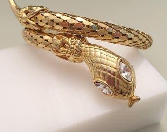 Coiled Snake Bracelet, Vintage Jewelry, Egyptian Revival, Gold Cleopatra Bracelet, Vintage Bracelet, Antique Gold Tone Wrap Serpent Bracelet