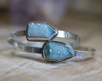 Aqua Aura Quartz, Drusy Quartz, Raw Spirit Quartz Sterling Silver Cuff Bracelet... Kismet... Child Of The Universe Edition...