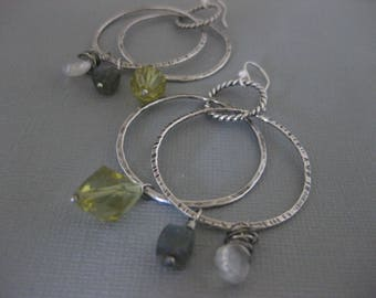 Double Hoop Sterling Silver Earrings with moonstone labradorite and lemon quartz