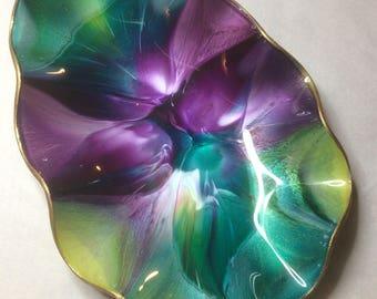 Vintage Small SEETUSEE Art Glass Ruffled Teardrop Dish Aqua Blue Lime Green Purples Psychadelic Leather Backed 1960s Manitoba Mayfair Glass