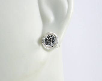 "Handcrafted Sterling Silver Post/Stud Earring Textured Round Small ""Cobblestone""  Design Contemporary Artisan Jewelry 793238156717"