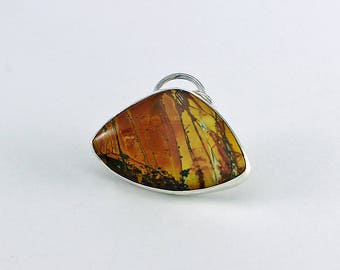 "Red Creek Jasper and Sterling Silver Pendant ""Leaning Birch Trees"" Autumn Colors Natural Stone Abstract Design Artisan Jewelry 4699822692617"