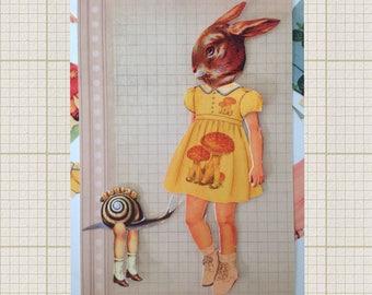 DIGITAL DOWNLOAD Paper Doll Anthropomorphic Matte  Rabbit Girl
