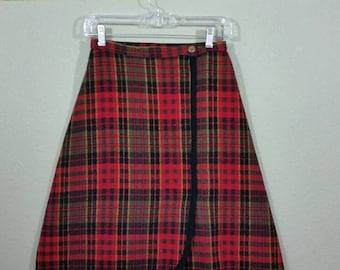 Wool Plaid Wrap Knee Skirt, XS/S