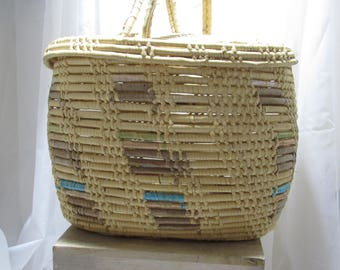 Medium to Larger Sized Basket with Handles and Lid, World Traveler