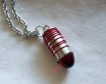 Ruby Red Glass Bullet Wire Wrapped Pendant