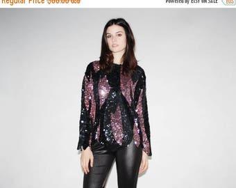 FLASH SALE - Vintage Black and Pink Disco Sequin Top -  Black and Pink Sequin Tops - The Trixie Blouse  - 1046