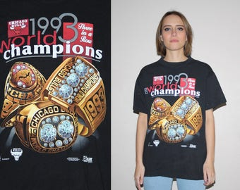 Salem 1993 Vintage 1990s Chicago Bulls 3 Time World Champions Time NBA Basketball Graphic T-Shirt - 3 Rings T Shirt - 90s Clothing - Wts-36