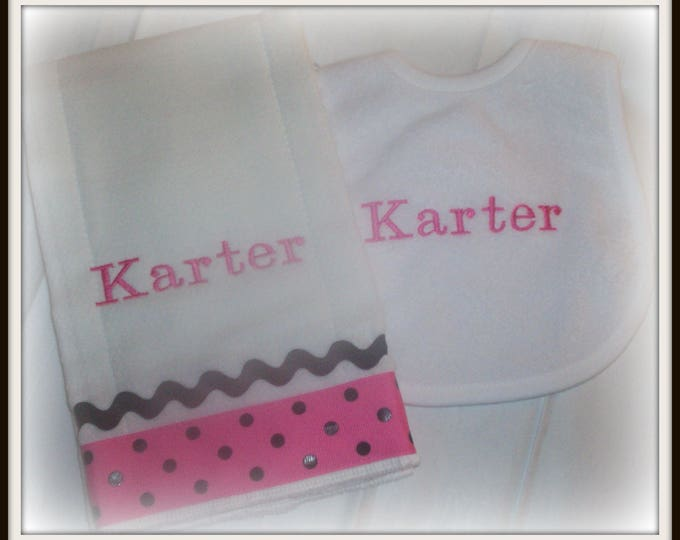 Baby girl bib and burp cloth set with ribbon - Baby girl shower gift -  hot pink polka dot - personalized bib - Monogrammed baby set - bib