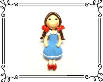 Cold Porcelain Clay Dorothy Figurine, Ornament, Pendant, Bow Center, Brooch, Magnet, Purse Charm, Ribbon Necklace, Wizard of Oz Jewelry
