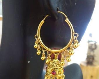 ON SALE Jaipur Jhumkas-J472- Gold Vermeil Hoop jhumkas