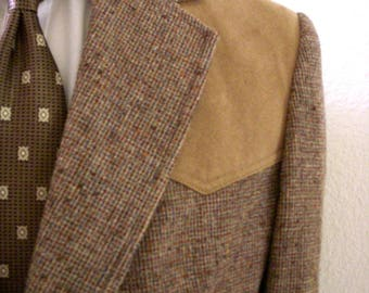 Vintage PENDLETON Men's Flecked Brown Tweed Jacket with Elbow Patches - Norfolk Style Pendleton Mens Jacket with Suede - Size 44 Long