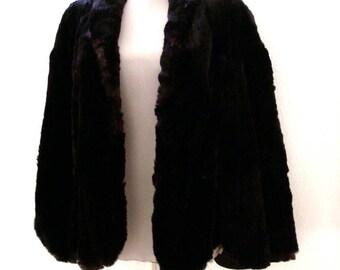 Vintage 50s Black Fur Cape - Black Fur Evening Cape by Rae's Fur Shop - 1950s Fur Cape with Issues - Size Small
