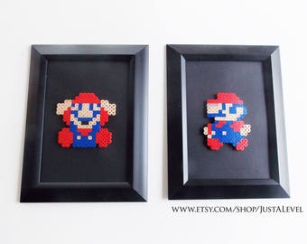 Mario Framed Artwork (Set of 2) Pixel Sprite Home Decor Art