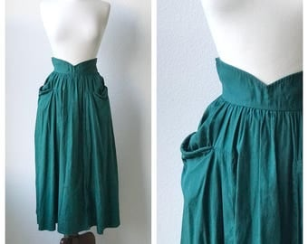 Vintage forest green 1950s a-line skirt sz xs or s