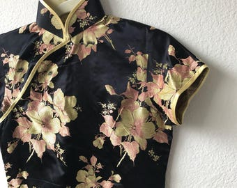 Vintage amazing black pink and gold qipao sz S