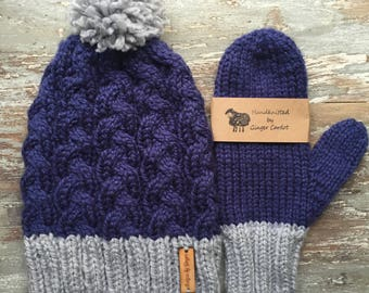 2 -Piece Set: Chunky Knitted Cable Hat With Pom Pom - Chunky Knitted Hat - Hand Knitted Mittens - Pom Poms -Knitted Mittens - Knitted Hats