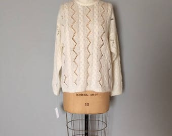 25% OFF SALE... SALE...snow white cut out fishnet sweater | braided cable knit fisherman sweater