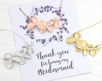 3 Day SALE Bridesmaids Rose Gold Orchid Flower Necklace, Bridesmaids Gift, Wedding Bridal Gift, Avail also in Silver or Gold