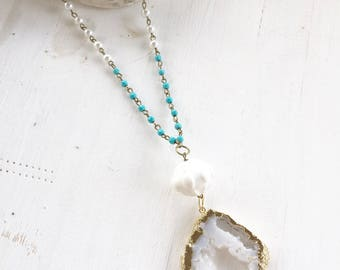 Clearance! Druzy beaded Necklace