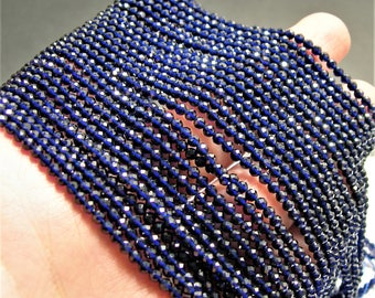 Blue Sapphire - 3mm micro faceted round beads - 1 full strand  16 inch 40 cm - 133 beads - AA Quality - Lab created Blue Sapphire  - PG142