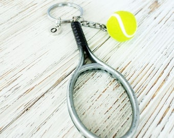 Sports tennis racket keychain for tennis team gift-Silver monogram initial tennis keychain for coach gift-Personalized gift for tennis lover