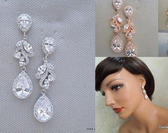 Bridal crystal earrings Wedding Rhinestone Earrings Cubic Zirconia statement earrings Wedding Earrings Rhinestone chandelier Earrings JAY