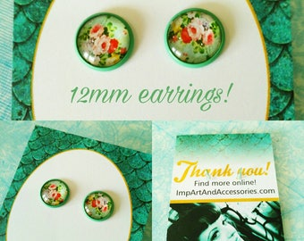 GARDEN ROSE-12 mm Floral Print Pale Green Post Earrings