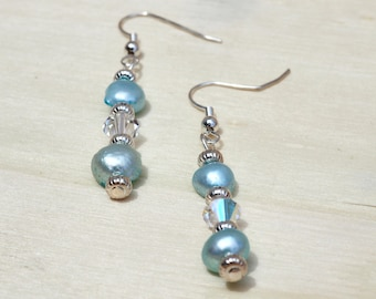 Blue Freshwater Pearl Earrings w/Crystals
