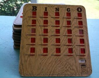 Vintage Lot of 13 PLA-MOR Bingo BINGO cards with Slide Panels Littleton Colorado Sliding covers
