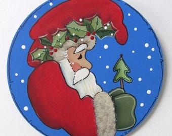 Santa with Evergreen Tree, Christmas Ornament, Round Wood Ornament, Tole or Hand Painted,Neighbor or Teacher Gift,Santa Claus,Christmas Tree