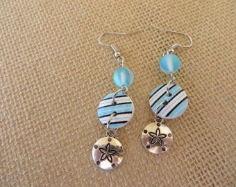 Striped Buttons And Sanddollars Dangling Beaded Earrings
