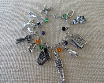 Classic Monster Movie Horror Themed Silver Charm And Crystal Bracelet