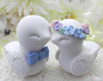 Love Birds Wedding Cake Topper, White, Blue, Pink, Lavender, Hydrangea - Bride and Groom Keepsake, Fully Custom