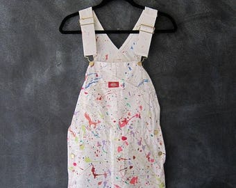 15% Off Out of Town Sale 80s 90s Splatter Puff Paint Overalls White Denim Wearable Art Painters Coveralls Jumper Onesie Ladies Size XS/S