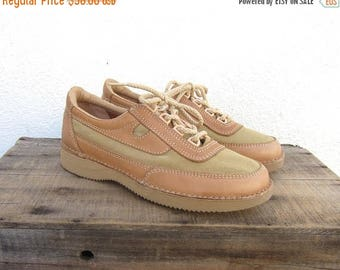 20% Off Sale 80s 90s Rockport Beige Canvas and Leather Tennis Shoes Sneaker Walking Shoes Safari Minimal Shoes Ladies Size 9.5 Narrow
