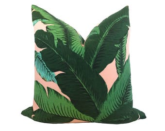 Blush Palm Print Pillow Cover - Palm Leaf Pillow - Green - Blush - Light Green - Palms Pillow - Outdoor Pillow Cover Beach Patio