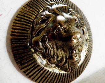 Brass Lion Head Button