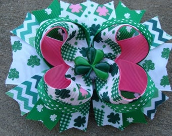 St. Patrick Hair Bow St. Pattys Hair Bow pink and green Hair Bow large boutique hair bow holiday hair bow